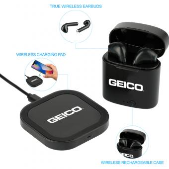 GEICO Oros Auto Pair Earbuds & Wireless Charging Pad