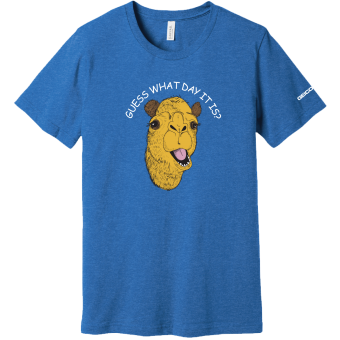 Caleb the Camel Guess What Day It Is? Hump Day Adult T Shirt - Royal Blue